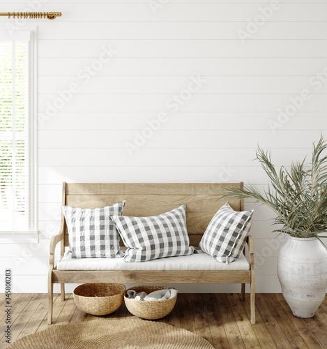 Cuadros en Lienzo Mockup in farmhouse interior background, 3d render
