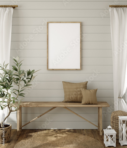 Fotomural Mockup in farmhouse interior background, 3d render