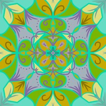 Symmetrical Colorful Floral Pa...
