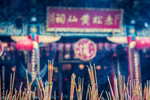 Close-up Of Incenses Outside Temple - fototapety na wymiar