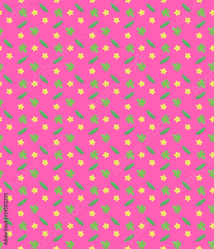 A pink background pattern of bitter melon, flowers and leaves. Canvas Print