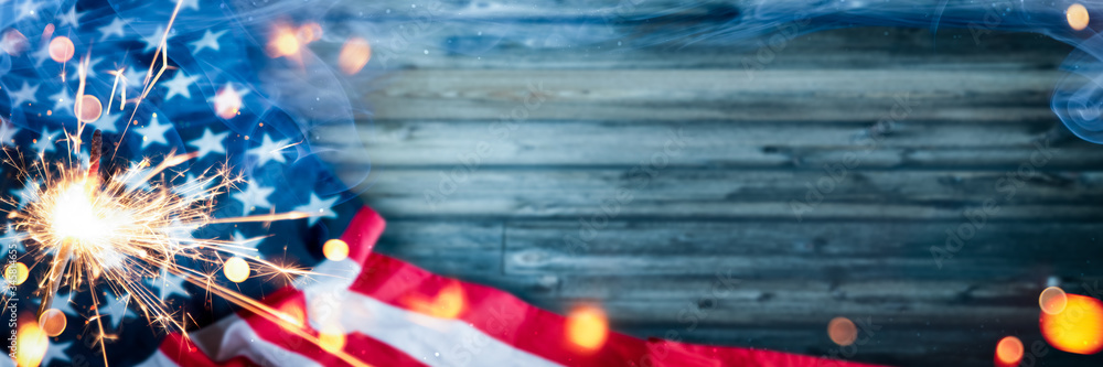 Fototapeta Happy 4th Of July - American Flag With Sparkler And Smoke On Wooden Background - Independence Day Celebration Concept