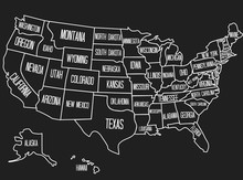 Vector Illustration Of A Geographic Map Of The United States Of America. Vintage Style Image With The USA State Names. US State Contour On A Black Background.