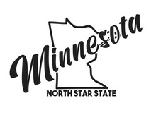 Vector Image Of Minnesota. Lettering Nickname North Star State. United States Of America Outline Silhouette. Hand-drawn Map Of US Territory. Illustration For The USA Poster, Banner, Print, Decor, Card