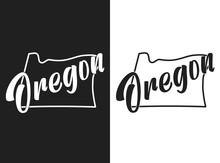 Oregon Vector Image. Monochrome Emblem Of The United States Of America. Hand-drawn Illustration Of The USA With The Name Of The State. Lettering. US Poster With Outline And States Borders For Decor