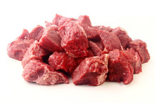 Pile Of Diced Chopped Raw Beef...