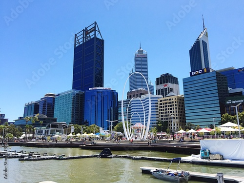 Fototapety, obrazy: Swan River By 108 St Georges Terrace And Modern Tower