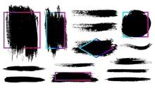 Brush Stroke. Black Paint Fram...
