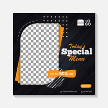 Editable Minimal Square Banner Post Template. Black, Yellow, Orange Background Layout Template For Food And Drink Business. Suitable For Social Media Post And Web Internet Ads. Vector Illustration