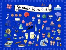 夏の手描きアイコンセット ラフカラー