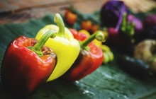 High Angle View Of Bell Peppers On Table