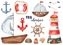 Nautical Watercolor Set With L...
