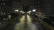 Aerial view of Santa Efigenia viaduct at night with no one in the street, at night, Sao Paulo downtown, Brazil