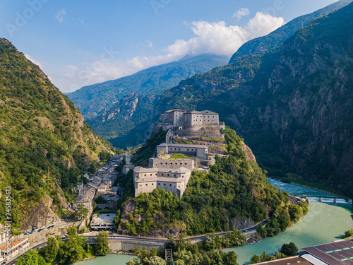 Aerial view of Fort of Bard, Aosta Valley, Italy Canvas Print