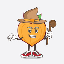 Eggfruit Cartoon Mascot Character As A Witch Wearing Hat And Staff