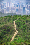 Aerial view of Shing Mun Country Park, near urban area