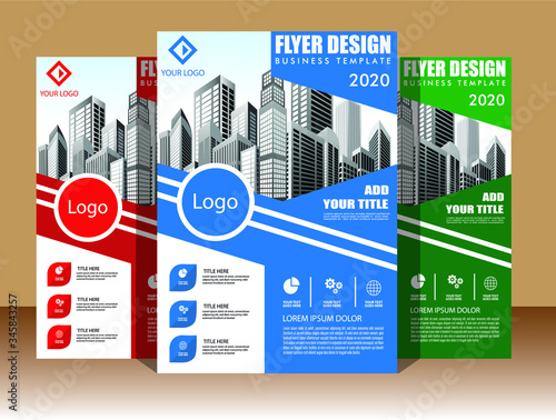 Fototapety, obrazy: Brochure design, cover modern layout, annual report, poster, flyer in A4 with colorful triangles, geometric shapes for tech, science, market with light background