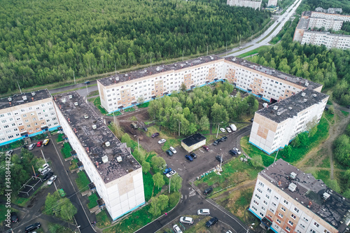Aerial Townscape of Apatity Town located in Kola Peninsula in Nothern Russia Wallpaper Mural