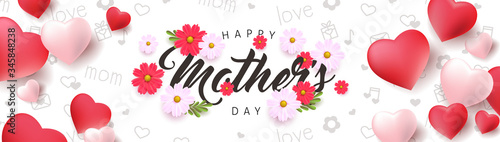 Fototapeta Mothers day banner background layout with Heart Shaped Balloons and flower.Greetings and presents for Mothers day in flat lay styling..Vector illustration template. obraz