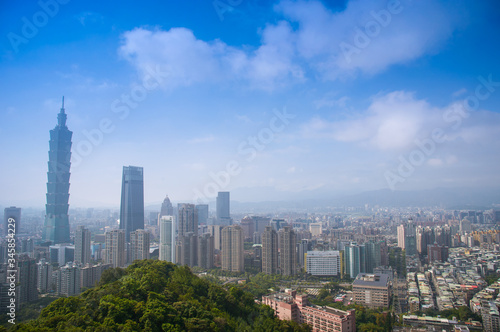Taipei, Taiwan - April 19, 2020 : The Whole View of Taipei 101 skyscraper and Xinyi Shopping District and Taipei 101 Canvas Print