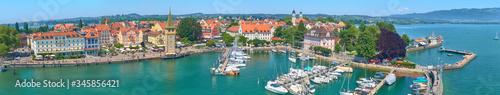 Panorama of Lindau harbor on Lake Constance.