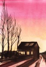 Peaceful Watercolor Landscape ...