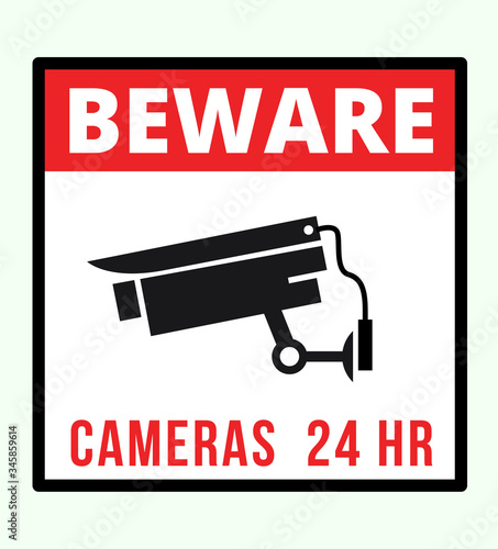 Video surveillance, CCTV camera sign beware cameras 24 Hour Sign post Vector Wallpaper Mural
