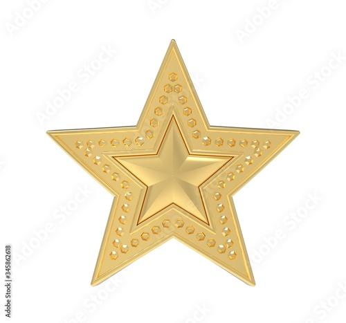 Gold inlaid star. 3D Illustration. Fototapeta