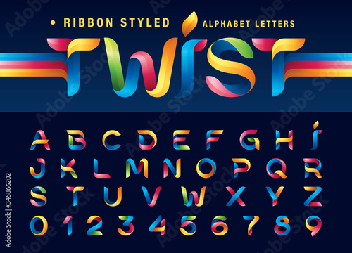 Vector of Twist Ribbons Alphabet Letters and numbers, Modern Origami stylized ro Canvas