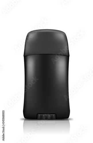 Photo Realistic Black Stick Deodorant Antiperspirant Bottle Mockup isolated on white background