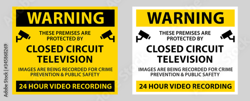 warning surveillance camera sign, CCTV camera surveillance sign vector Fototapete