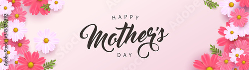 Fototapeta Mothers day banner background layout with flower.Greetings and presents for Mothers day in flat lay styling.Vector illustration template. obraz