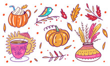 Autumn Phrases And Floral Elem...