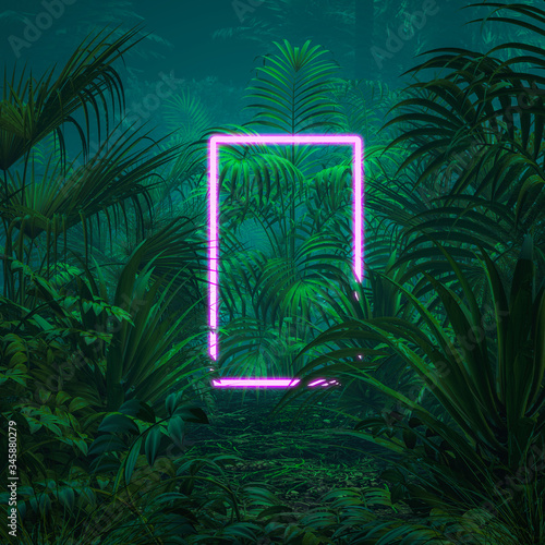 Neon tropical portal / 3D illustration of surreal glowing rectangular portal flo Wallpaper Mural