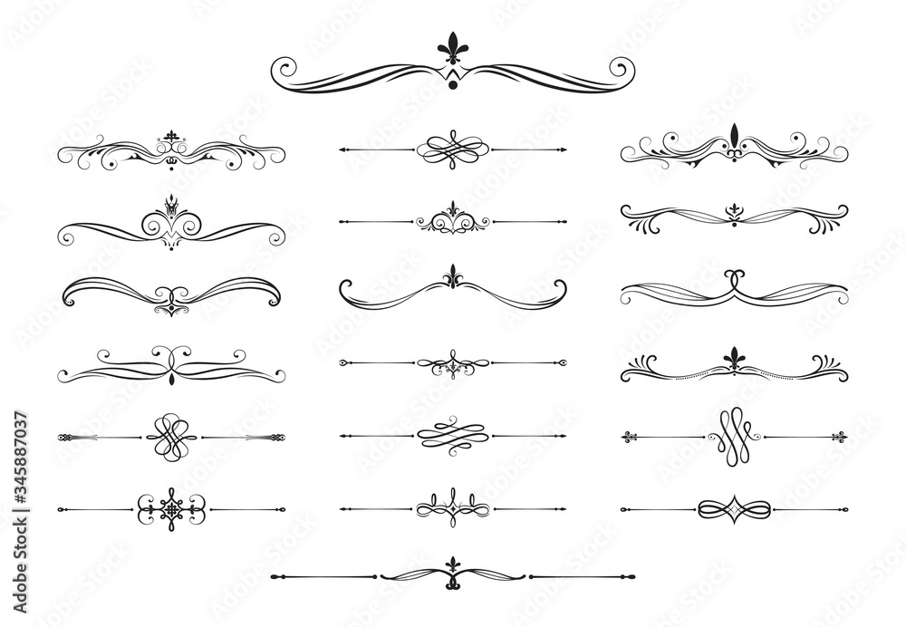 Fototapeta Hand drawn calligraphic dividers. Swirl victorian borders.  Vector isolated royal decor separators. Classic wedding invitation calligraphic lines.