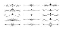 Hand Drawn Calligraphic Vintage  Dividers. Swirl Victorian Borders.  Vector Isolated Royal Decor Separators. Classic Wedding Invitation Filigree Lines.