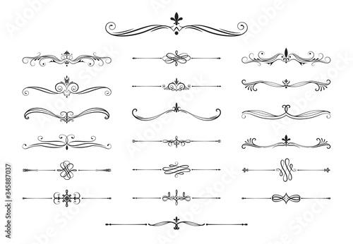 Obraz Hand drawn calligraphic dividers. Swirl victorian borders.  Vector isolated royal decor separators. Classic wedding invitation calligraphic lines. - fototapety do salonu