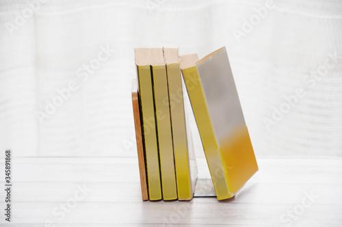 書斎で本をブックスタンドに立てかける Canvas Print