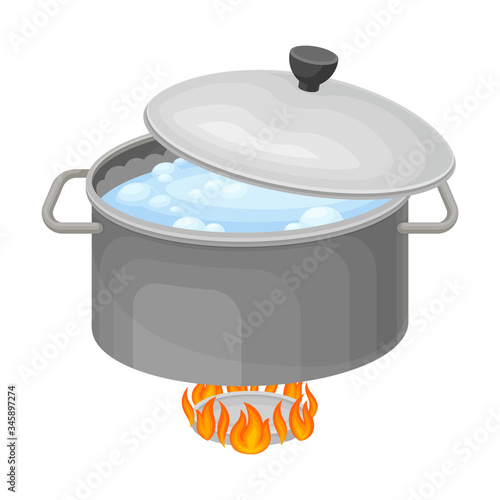 Cooking Rice Process with Saucepan on Burner with Boiling Water Inside Vector Il Tapéta, Fotótapéta