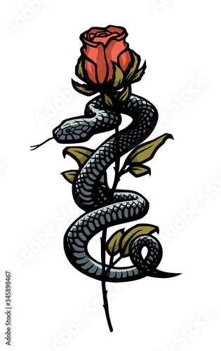 A snake entwined around a rose. Vector illustration. Canvas-taulu