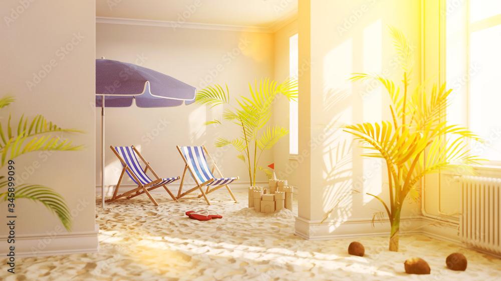 Fototapeta Urlaub zu Hause mit Strand im Wohnzimmer bei Lockdown