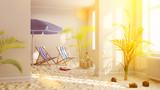 Urlaub zu Hause mit Strand im Wohnzimmer bei Lockdown