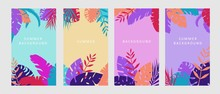 Colorful Banners In Summer Style. Saturated Colored Background Tropical Plants Illustration Vector Morning Turquoise, Day Yellow, Evening Dark Pink And Clipart Purple Night.