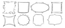 Doodle Frames Silhouette Ornament. Collection Decorative Frames Round, Square, Polygonal Of Different Trendy Geometric Vector Shapes Pencil Sketch Style.