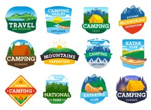 Camping, Hiking And Travel Summer Outdoor Adventure, Vector Camp Icons. Mountaineering And Mountain Trekking, Eco Tourism And Travel Expedition, National Park And Kayaking Sport Emblems