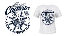Octopus On Sail Ship Helm, Mar...