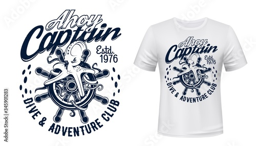 Photo Octopus on sail ship helm, marine and nautical vector t-shirt print