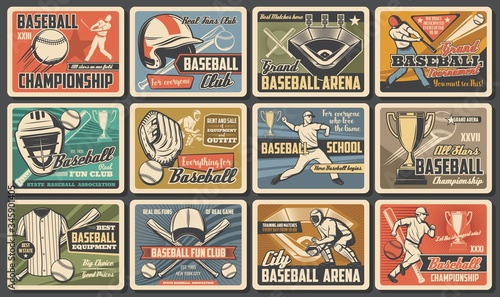 Fototapety Sport  baseball-player-and-batter-with-bat-ball-at-arena-baseball-and-softball-sport-tournament-and-equipment-vintage-retro-sport-posters-fan-club-and-championship-cup-match