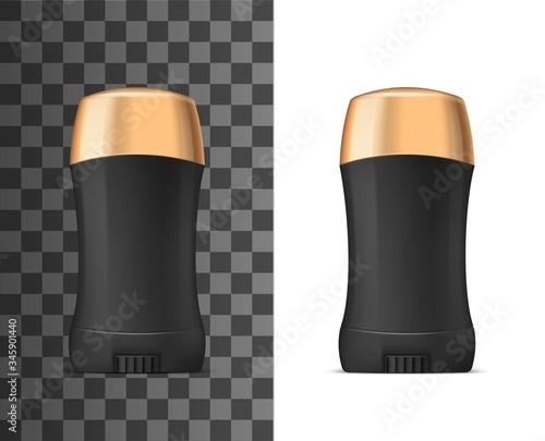 Black deodorant stick with golden cap, vector realistic 3d mockup model template Canvas Print