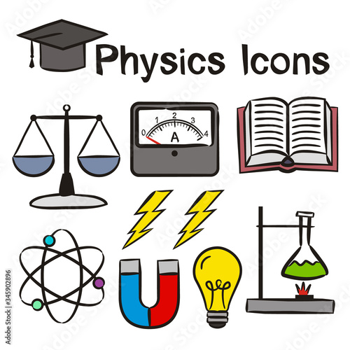 Set of hand-drawn icons on the theme of Physics Wallpaper Mural